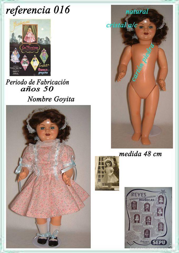 Muñeca española clasica: muñeca carton piedra de origen en pelo natural goyita marca las meninas onil años 50 - Foto 24 - 40878003