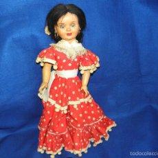 Muñeca española clasica: MUÑECA MARCA JE CON VESTIDO DE GITANA SEVILLANA O FLAMENCA. Lote 56701712
