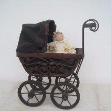 Muñeca española clasica: COCHECITO ANTIGUO DE MADERA, METAL Y HIERRO. (EL MUÑEQUITO NO ENTRA EN EL LOTE). Lote 56848118