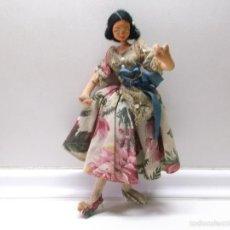 Muñeca española clasica: MUÑECA MORENA ANTIGUA DE TRAPO 24 CN DE ALTO. Lote 57038678