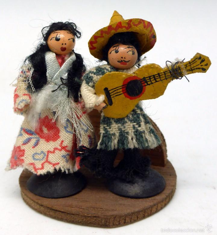 PAREJA MEXICANOS MADERA PINTADA MONLLOR DENIA AÑOS 50 (Juguetes - Otras Muñecas Españolas Clásicas (Hasta 1.960))