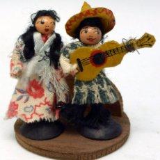 Muñeca española clasica: PAREJA MEXICANOS MADERA PINTADA MONLLOR DENIA AÑOS 50. Lote 57726791