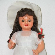 Muñeca española clasica: MU102 CHELITO. CARTÓN PIEDRA. PELO DE MOHAIR. ESPAÑA. FINALES AÑOS 40. Lote 56121520