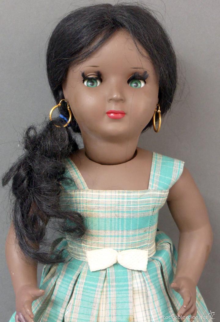 Muñeca española clasica: Linda Negra ICSA celuloide JC SA ropa original Ojo durmiente años 50 49 cm alto - Foto 2 - 58581040