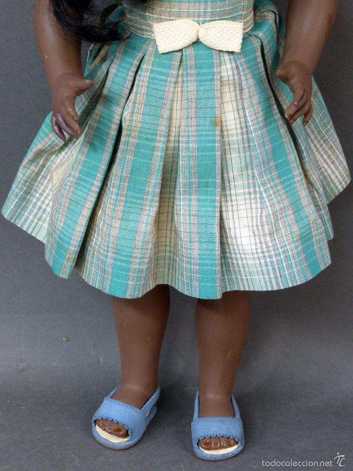 Muñeca española clasica: Linda Negra ICSA celuloide JC SA ropa original Ojo durmiente años 50 49 cm alto - Foto 3 - 58581040