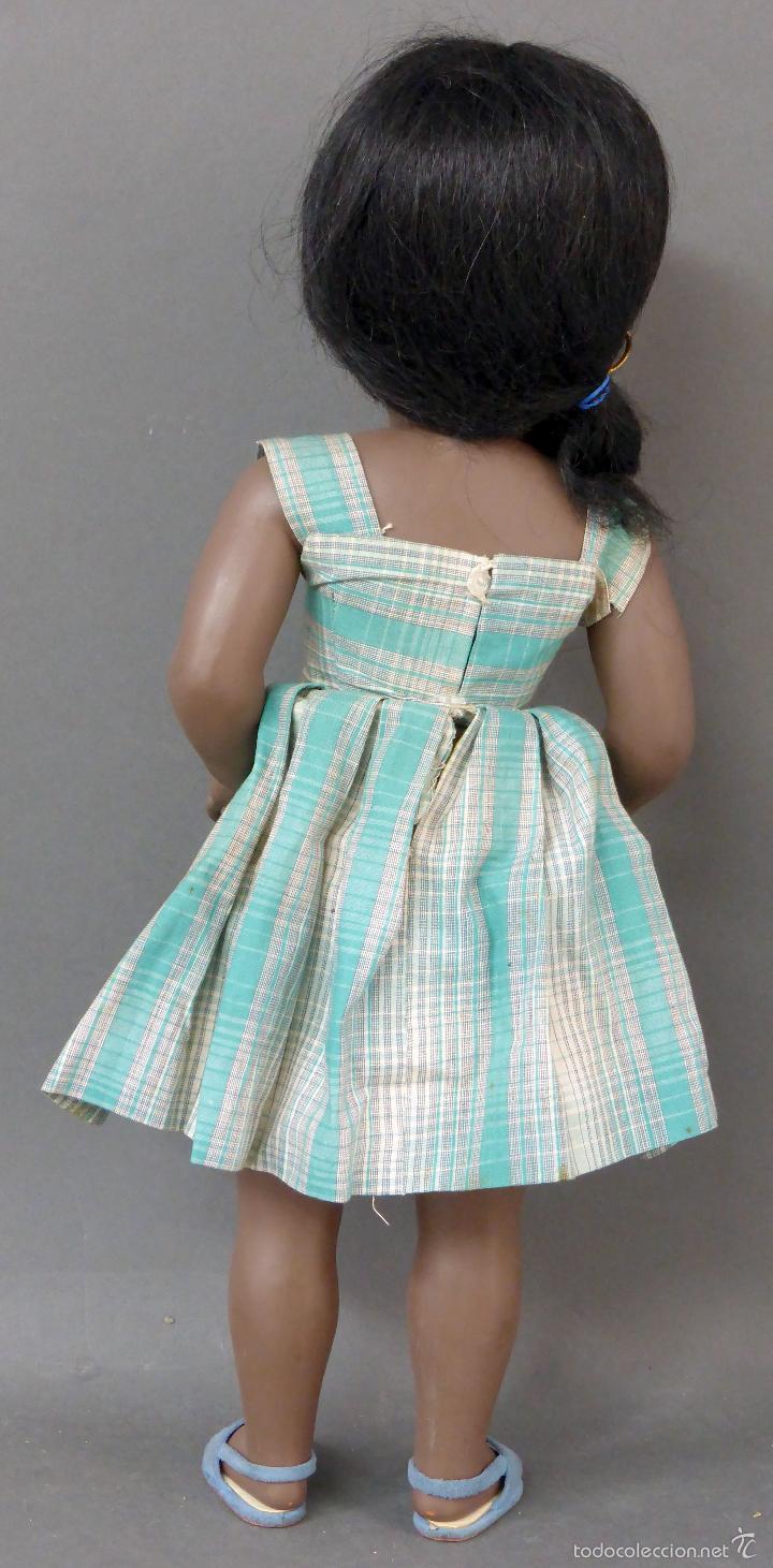 Muñeca española clasica: Linda Negra ICSA celuloide JC SA ropa original Ojo durmiente años 50 49 cm alto - Foto 6 - 58581040