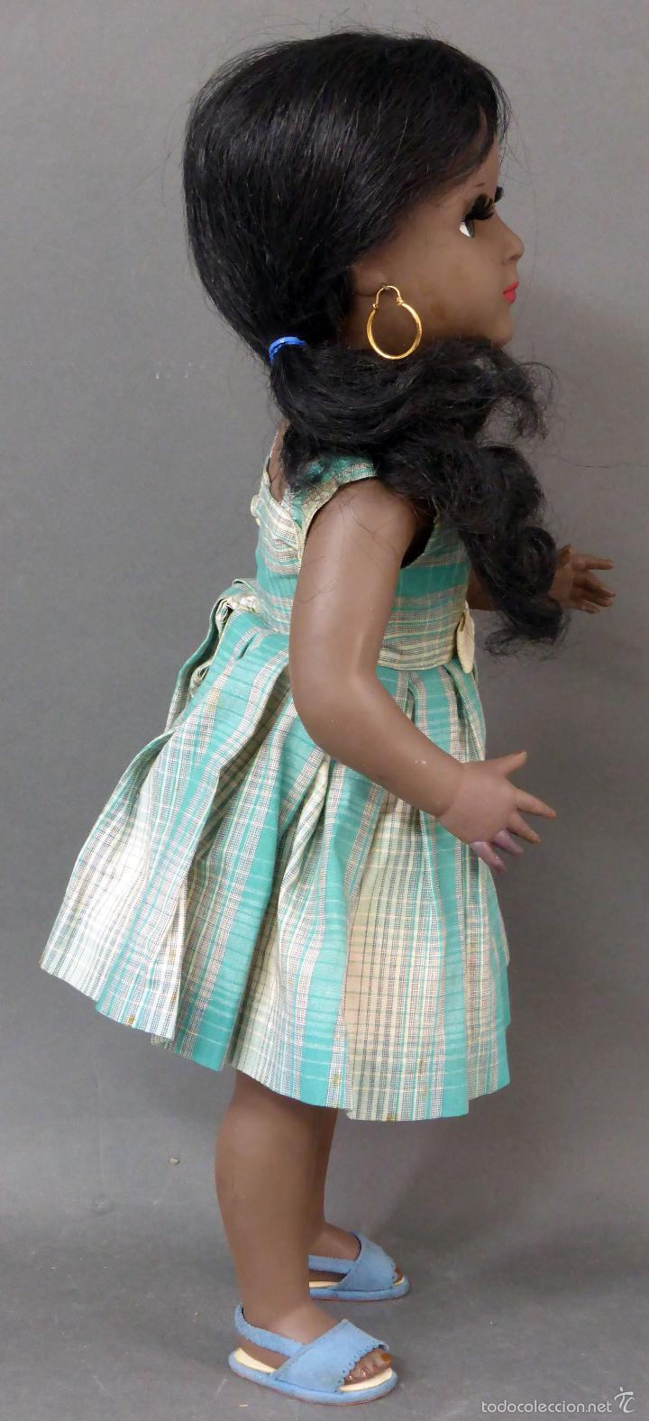 Muñeca española clasica: Linda Negra ICSA celuloide JC SA ropa original Ojo durmiente años 50 49 cm alto - Foto 7 - 58581040
