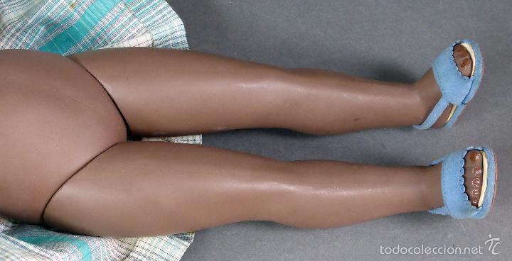 Muñeca española clasica: Linda Negra ICSA celuloide JC SA ropa original Ojo durmiente años 50 49 cm alto - Foto 9 - 58581040
