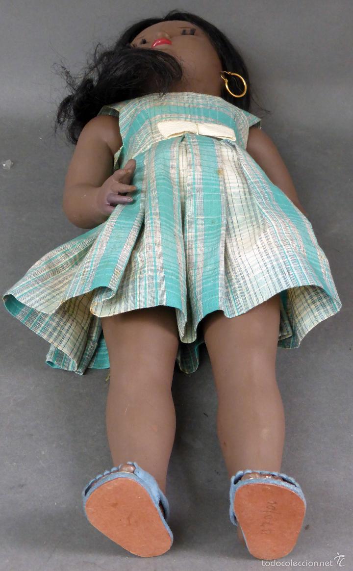 Muñeca española clasica: Linda Negra ICSA celuloide JC SA ropa original Ojo durmiente años 50 49 cm alto - Foto 11 - 58581040