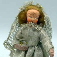 Muñeca española clasica: NOVIA MUÑECA TRAPO FIELTRO CON VELO Y RAMO FLORES AÑOS 50 13 CM ALTO. Lote 58581147