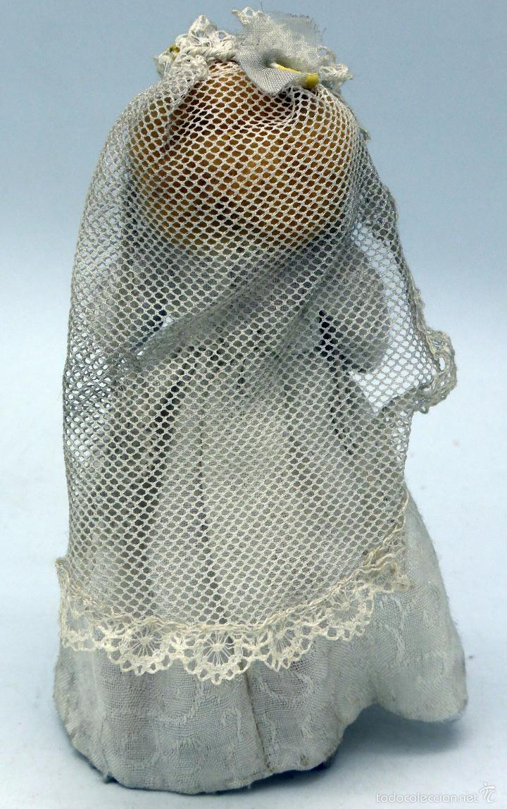 Muñeca española clasica: Novia muñeca trapo fieltro con velo y ramo flores años 50 13 cm alto - Foto 2 - 58581147