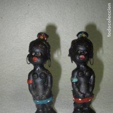 Muñeca española clasica: ANTIGUA PAREJA DE MUÑECAS NEGRITAS EN PRIMITIVA GOMA. Lote 66174658
