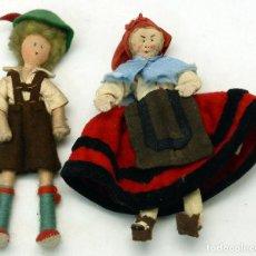 Muñeca española clasica: PAREJA REGIONAL FIELTRO TRAPO TRAJE REGIONAL AÑOS 50 13 CM ALTO. Lote 70088129