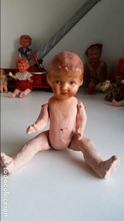 Muñeca española clasica: Muñeca, carton piedra, muy antigua very old papier mache doll - Foto 2 - 72303235