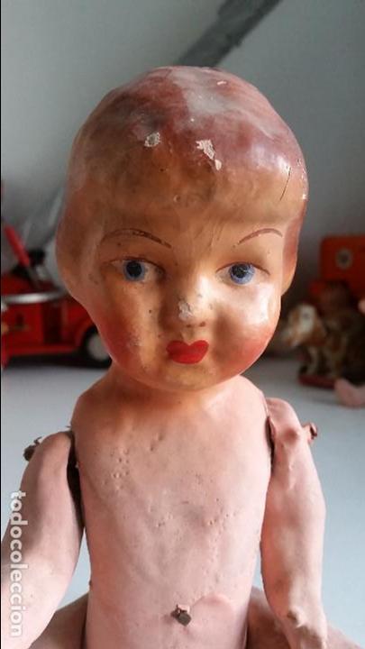 Muñeca española clasica: Muñeca, carton piedra, muy antigua very old papier mache doll - Foto 3 - 72303235