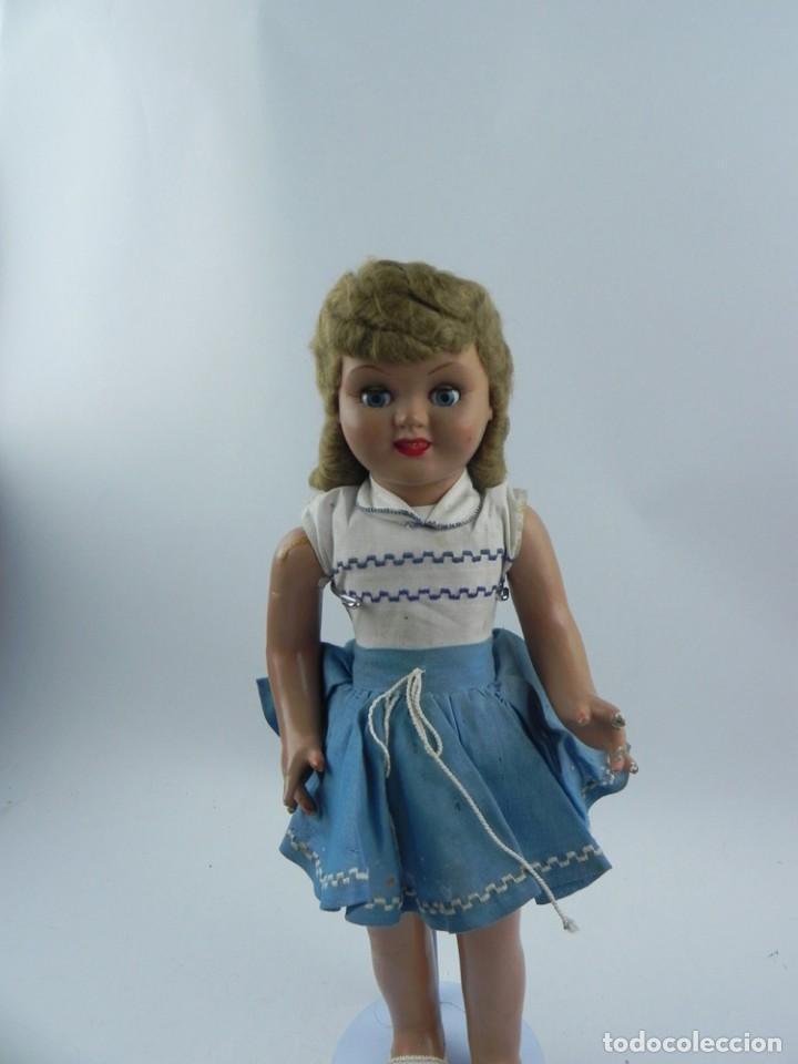 Muñeca española clasica: Muñeca de la serie Molina, años 50. realizada en cartón piedra, cabello de mohair, ojo durmiente, r - Foto 5 - 73758223