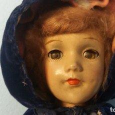 Muñeca española clasica: ANTIGUA MUÑECA FINALES S.XIX PORCELANA POLICROMADA CAPA TERCIOPELO CENICIENTA ? O BLANCANIEVES ?. Lote 74267399