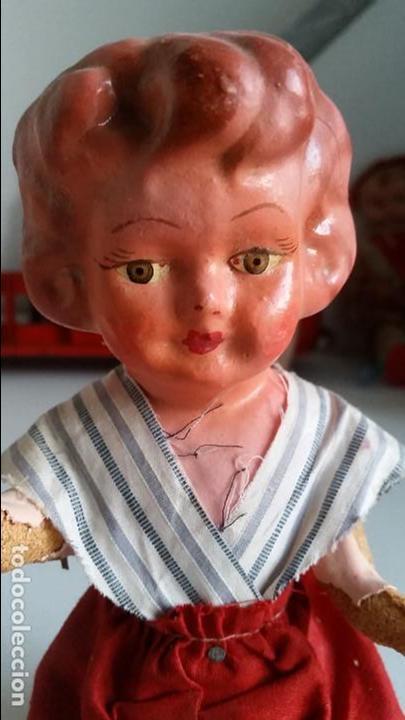 Muñeca española clasica: Muñeca española, carton piedra, muy antigua Antique spanish papier mache doll - Foto 2 - 75514199