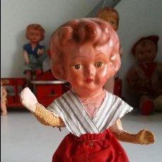 Muñeca española clasica: MUÑECA ESPAÑOLA, CARTON PIEDRA, MUY ANTIGUA ANTIQUE SPANISH PAPIER MACHE DOLL. Lote 75514199