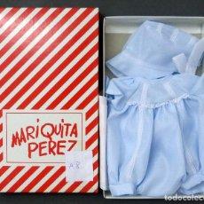 Muñeca española clasica: MARIQUITA PÉREZ CONJUNTO JUANÍN BEBÉ TRAJE AZUL Y GORRO REEDICIÓN 1998 TAMAÑO GRANDE CON CAJA. Lote 76861375