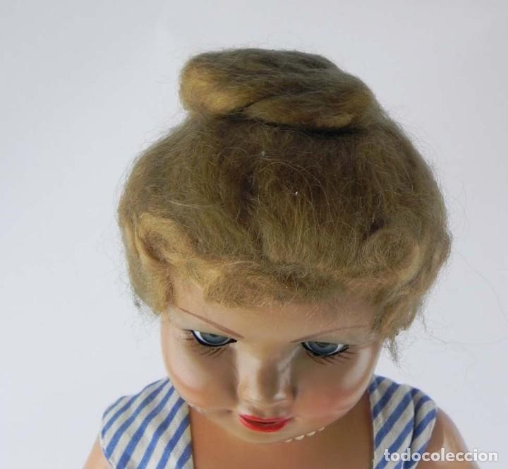 Muñeca española clasica: MUY BONITA MUÑECA CELIA- AÑOS 50 - REALIZADA EN CARÓN PIEDRA, CABELLO DE MOHAIR PEINADO EN RECOGIDO - Foto 3 - 81947932