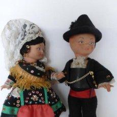 Muñeca española clasica: ANTIGUA PAREJA DE MUÑECOS CHARROS SALAMANCA - CELULOIDE CON TODOS LOS COMPLEMENTOS DE TRAJE CHARRO.. Lote 82151336