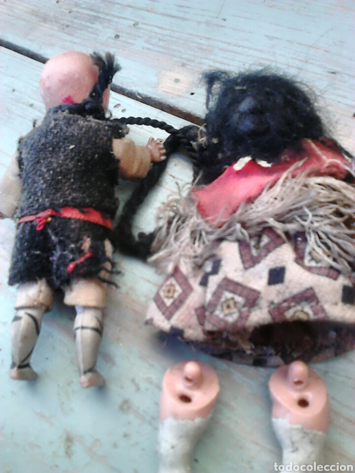 Muñeca española clasica: Antigua pareja de muñecas mini,regionales,ver fotos - Foto 5 - 87209219