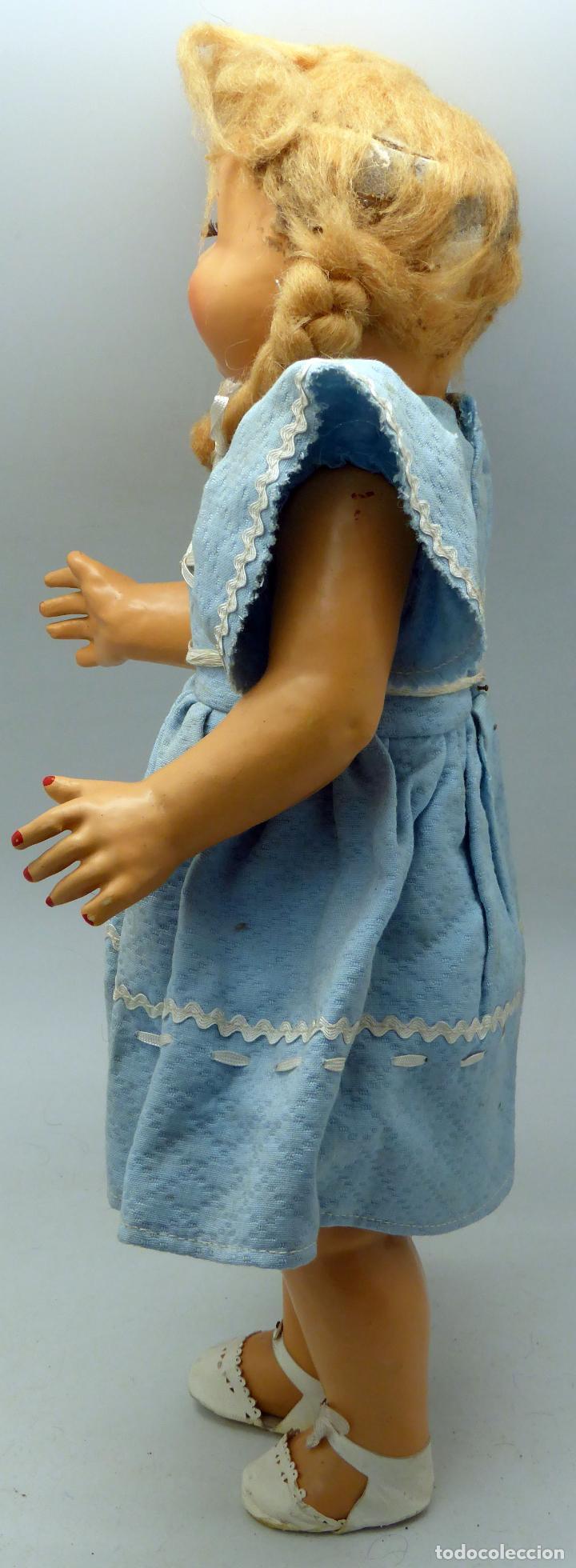 Muñeca española clasica: Muñeca popular cartón piedra ojo durmiente ropa original peluca calzado años 40 40 cm - Foto 3 - 88131616