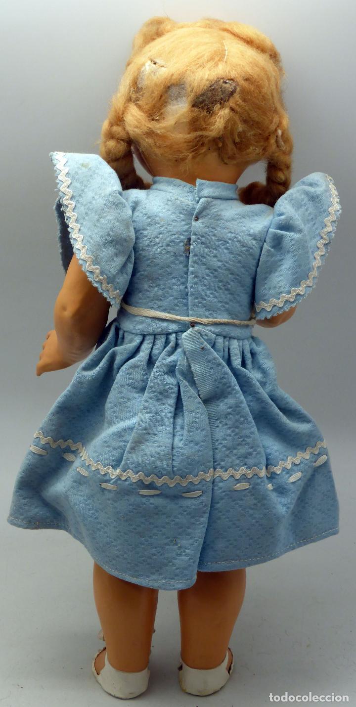 Muñeca española clasica: Muñeca popular cartón piedra ojo durmiente ropa original peluca calzado años 40 40 cm - Foto 4 - 88131616