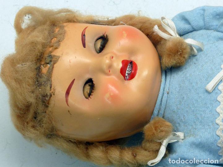 Muñeca española clasica: Muñeca popular cartón piedra ojo durmiente ropa original peluca calzado años 40 40 cm - Foto 5 - 88131616
