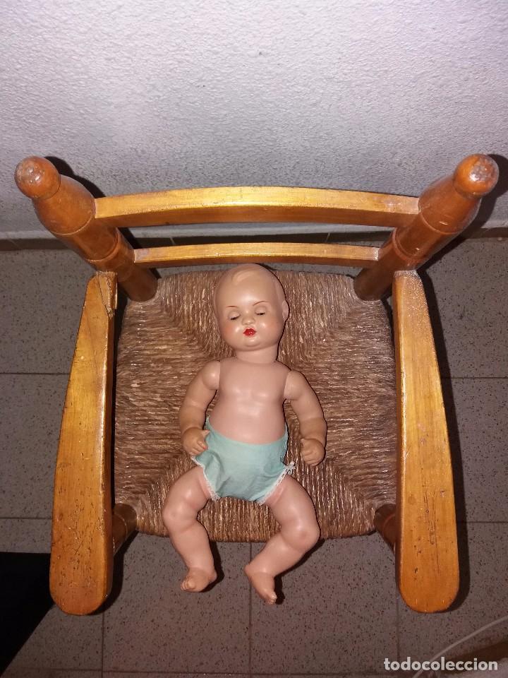 Muñeca española clasica: Conjunto de Muñeco Nanín Baby, Industrias Diana, y trona de madera años 60. - Foto 3 - 89061340