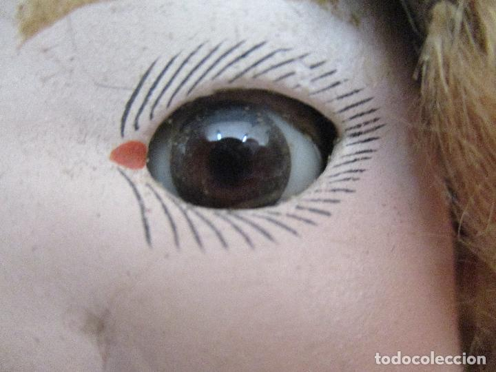 Muñeca española clasica: Antigua Muñeca - Cartón Piedra - Cabello Mohair - Ojos de Cristal Durmientes - Original - Años 20-30 - Foto 10 - 91266640
