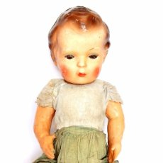 Muñeca española clasica: MUÑECA MUÑECO DE CARTON PIEDRA CON LAS EXTREMIDADES ARTICULADAS AÑOS 40. 50 CMS GRAN TAMAÑO. Lote 91963530