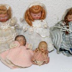 Muñeca española clasica: LOTE DE 5 MUÑECAS MINIATURA. TERRACOTA. NECESITAN RESTAURACIÓN. ESPAÑA. AÑOS 20. Lote 97357271