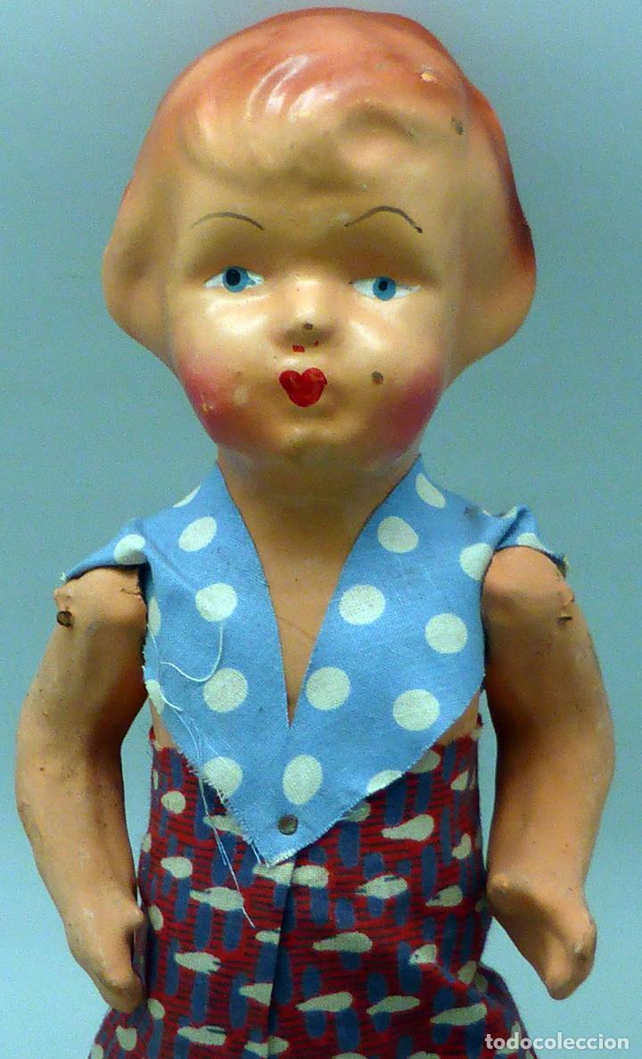Muñeca española clasica: Pepona muñeca cartón piedra articulada ropa original años 30 - 40 32 cm alto - Foto 2 - 102609831