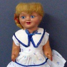 Classic Spanish Dolls - Muñeca popular cartón piedra cabeza celuloide ropa original años 50 28 cm alto - 102701755