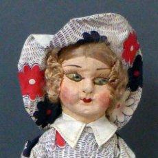 Muñeca española clasica: MUÑECA POPULAR TRAPO ROPA ORIGINAL SOMBRERO AÑOS 20 - 30 24 CM ALTO. Lote 102703379