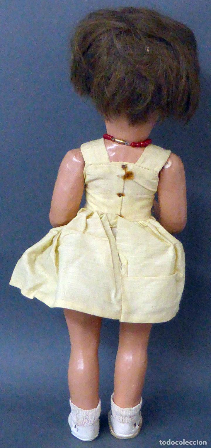 Muñeca española clasica: Dina muñeca Famosa cabeza celuloide cuerpo cartón piedra ojo durmiente años 50 40 cm alto - Foto 5 - 102703663