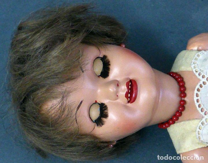 Muñeca española clasica: Dina muñeca Famosa cabeza celuloide cuerpo cartón piedra ojo durmiente años 50 40 cm alto - Foto 7 - 102703663