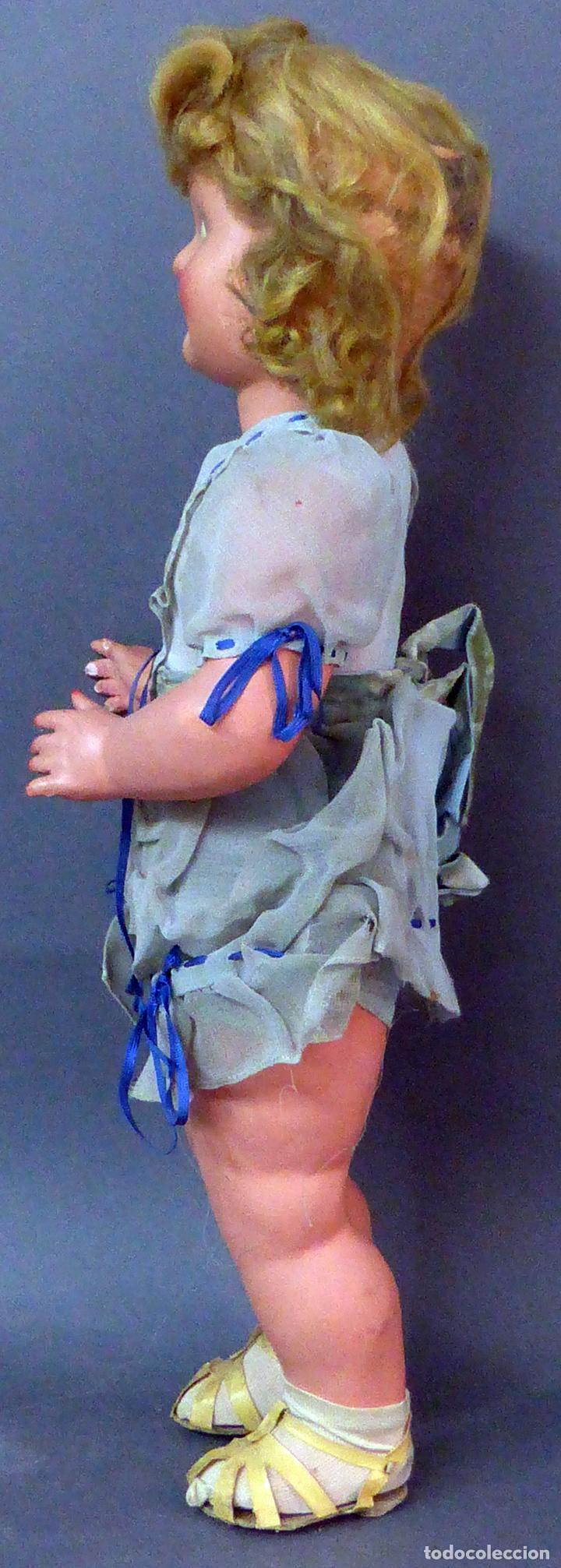 Muñeca española clasica: Muñeca popular cartón piedra cabeza celuloide ropa original peluca sandalias años 40 44 cm - Foto 3 - 102704747