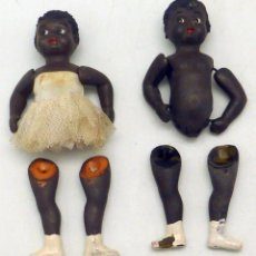Muñeca española clasica: PAREJA NEGRO Y NEGRA CELULOIDE AÑOS 50 9 CM ALTO. Lote 103941683