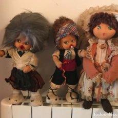 Muñeca española clasica: LOTE 3 ANTIGUAS MUÑECAS DE FIELTRO. Lote 110715639