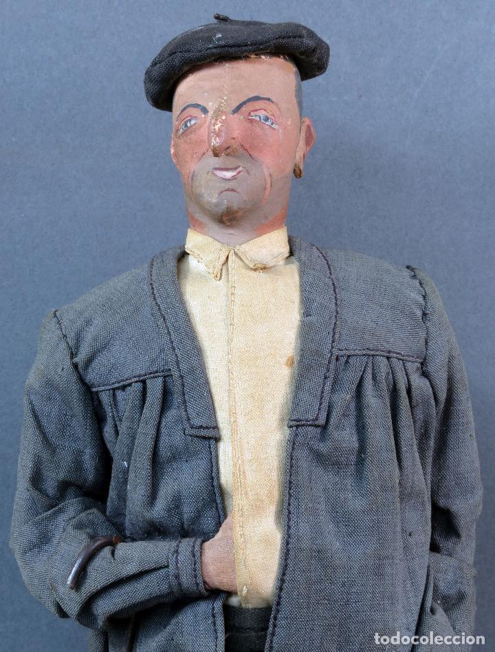 Muñeca española clasica: Paisano vasco boina paraguas cartón piedra piel y trapo años 30 30 cm alto - Foto 2 - 125831975
