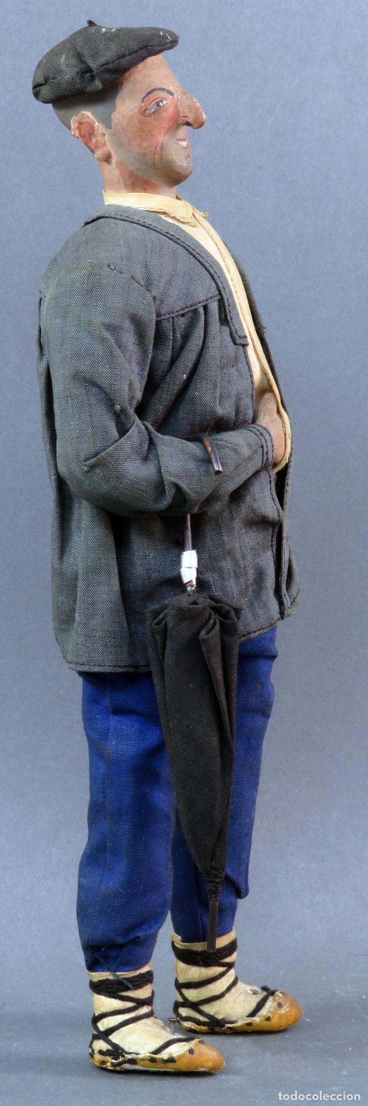 Muñeca española clasica: Paisano vasco boina paraguas cartón piedra piel y trapo años 30 30 cm alto - Foto 3 - 125831975