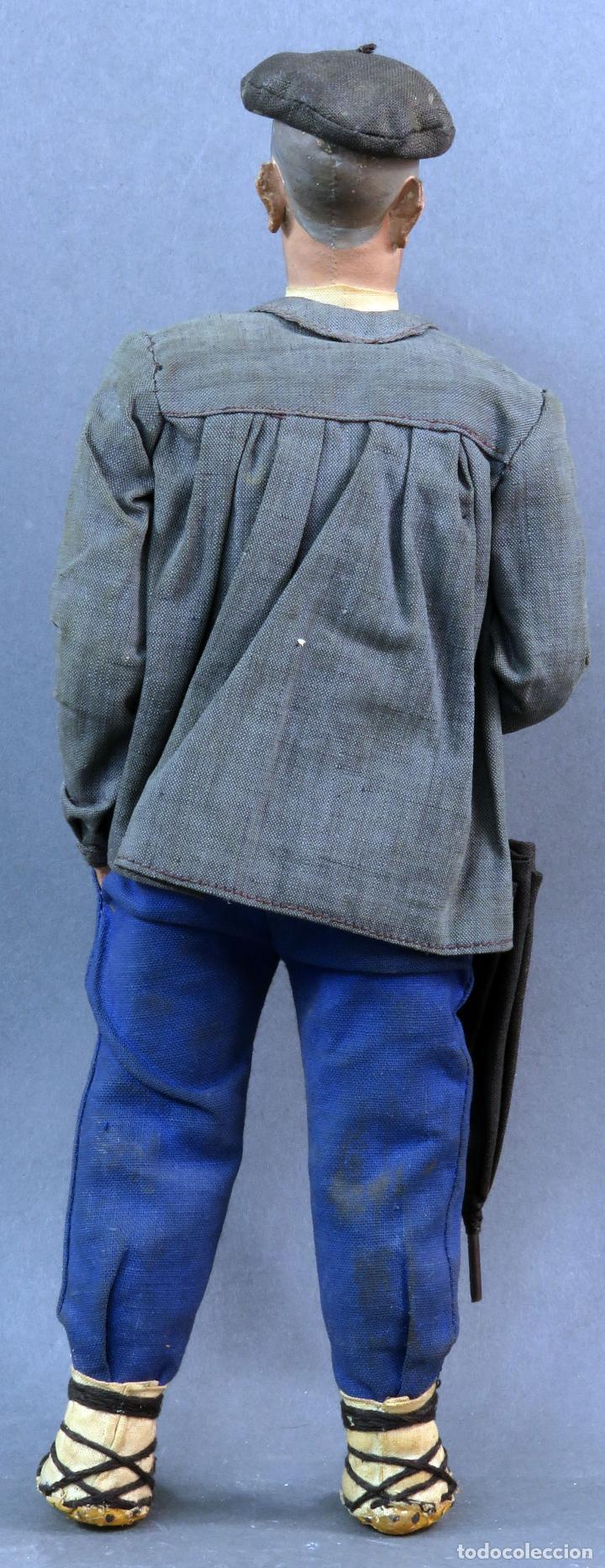 Muñeca española clasica: Paisano vasco boina paraguas cartón piedra piel y trapo años 30 30 cm alto - Foto 4 - 125831975