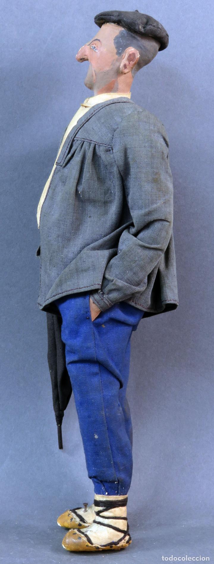 Muñeca española clasica: Paisano vasco boina paraguas cartón piedra piel y trapo años 30 30 cm alto - Foto 5 - 125831975