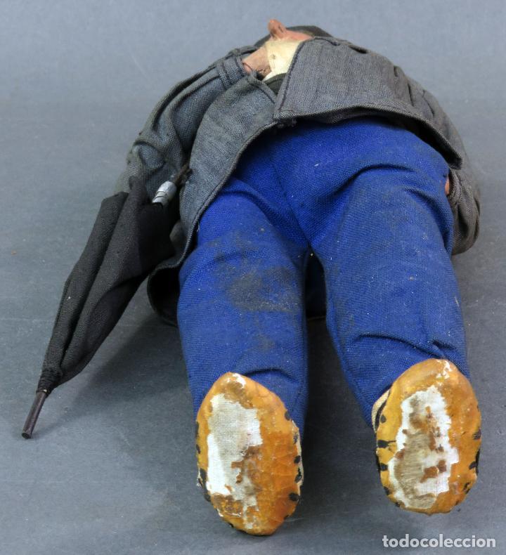 Muñeca española clasica: Paisano vasco boina paraguas cartón piedra piel y trapo años 30 30 cm alto - Foto 6 - 125831975