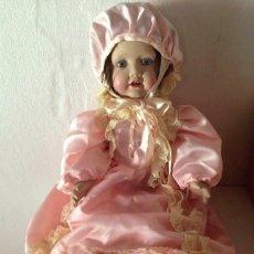 Muñeca española clasica: MUÑECA PORCELANA RAMÓN INGLÉS, MARCA EN NUCA RJ. AÑOS 60/70. BUEN ESTADO. Lote 127588011