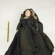 Muñeca española clasica: ANTIGUA Y RARA MUÑECA MONJA CUERPO DE CUERO CABEZA DE PIEDRA. Lote 133792790