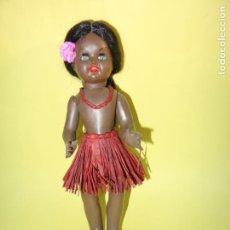 Muñeca española clasica - Antigua Muñeca Negrita Hawaiana CORISA de Cartón Piedra y Ojos Durmientes - 133976238